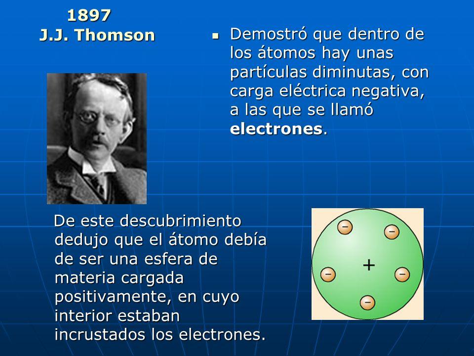Las ideas de Dalton fueron perfeccionadas por otros científicos. En 1897, el británico Joseph John Thomson descubrió unas partículas con propiedades s