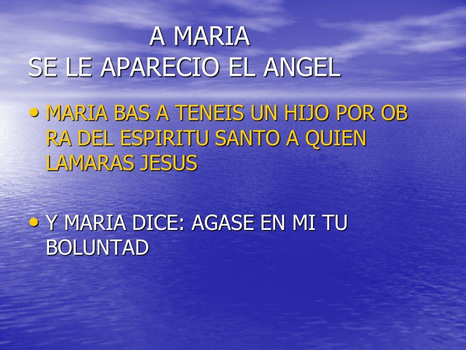 A MARIA SE LE APARECIO EL ANGEL A MARIA SE LE APARECIO EL ANGEL MARIA BAS A TENEIS UN HIJO POR OB RA DEL ESPIRITU SANTO A QUIEN LAMARAS JESUS MARIA BAS A TENEIS UN HIJO POR OB RA DEL ESPIRITU SANTO A QUIEN LAMARAS JESUS Y MARIA DICE: AGASE EN MI TU BOLUNTAD Y MARIA DICE: AGASE EN MI TU BOLUNTAD