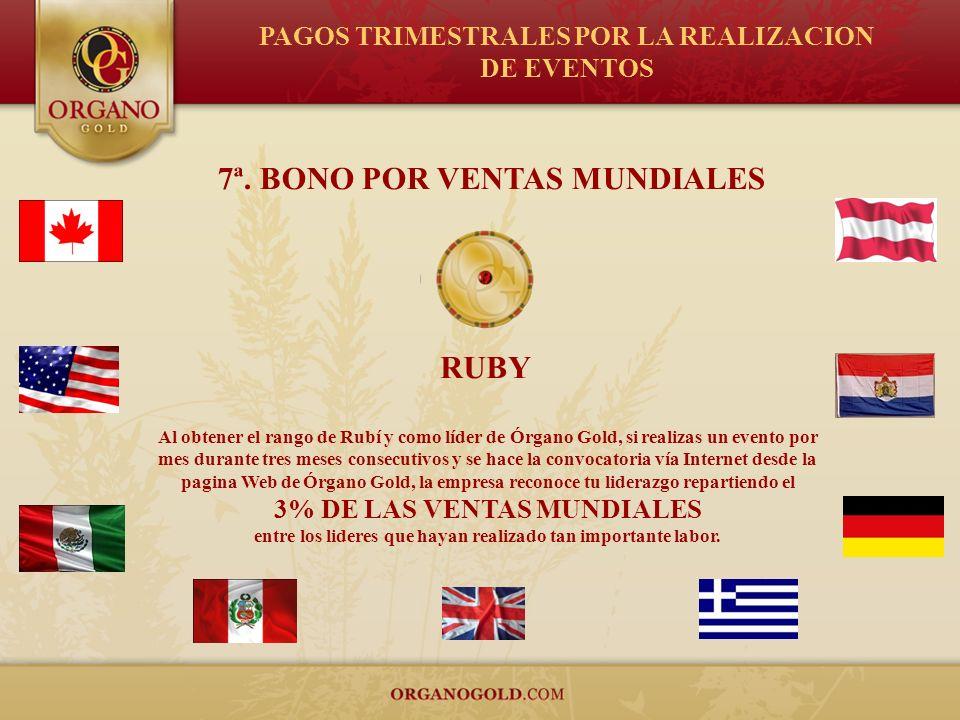 7ª. BONO POR VENTAS MUNDIALES Al obtener el rango de Rubí y como líder de Órgano Gold, si realizas un evento por mes durante tres meses consecutivos y