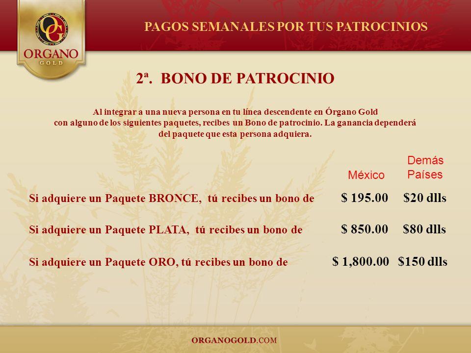 2ª. BONO DE PATROCINIO Al integrar a una nueva persona en tu línea descendente en Órgano Gold con alguno de los siguientes paquetes, recibes un Bono d