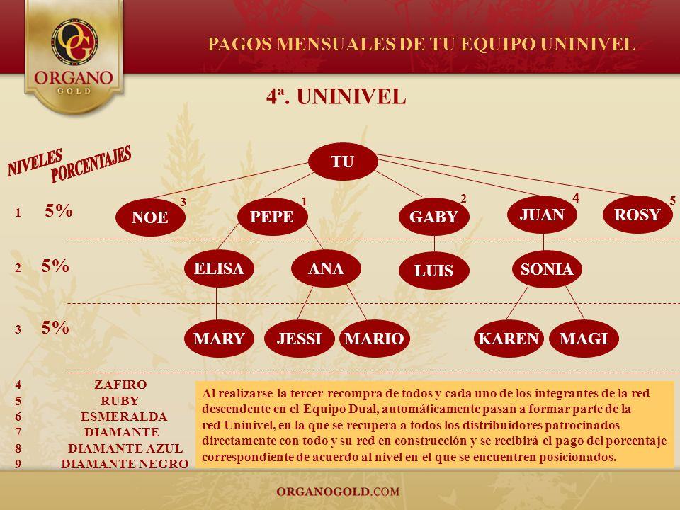 TU PEPE GABY ELISA NOE MARY ANA JESSIMARIO LUIS JUAN SONIA ROSY 1 2 4 3 5 KARENMAGI 4ª. UNINIVEL 1 5% 2 5% 3 5% 4 ZAFIRO 5 RUBY 6 ESMERALDA 7 DIAMANTE
