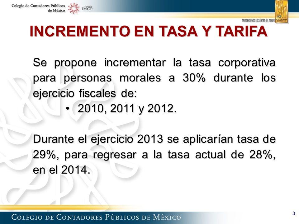 3 Se propone incrementar la tasa corporativa para personas morales a 30% durante los ejercicio fiscales de: 2010, 2011 y 2012.2010, 2011 y 2012.