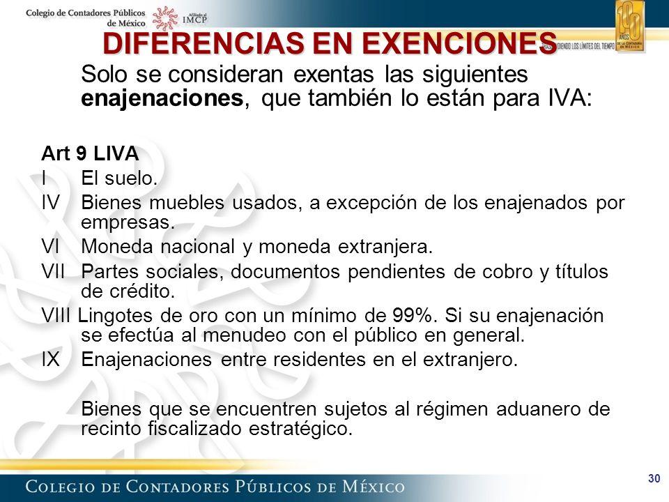 30 DIFERENCIAS EN EXENCIONES Solo se consideran exentas las siguientes enajenaciones, que también lo están para IVA: Art 9 LIVA I El suelo.