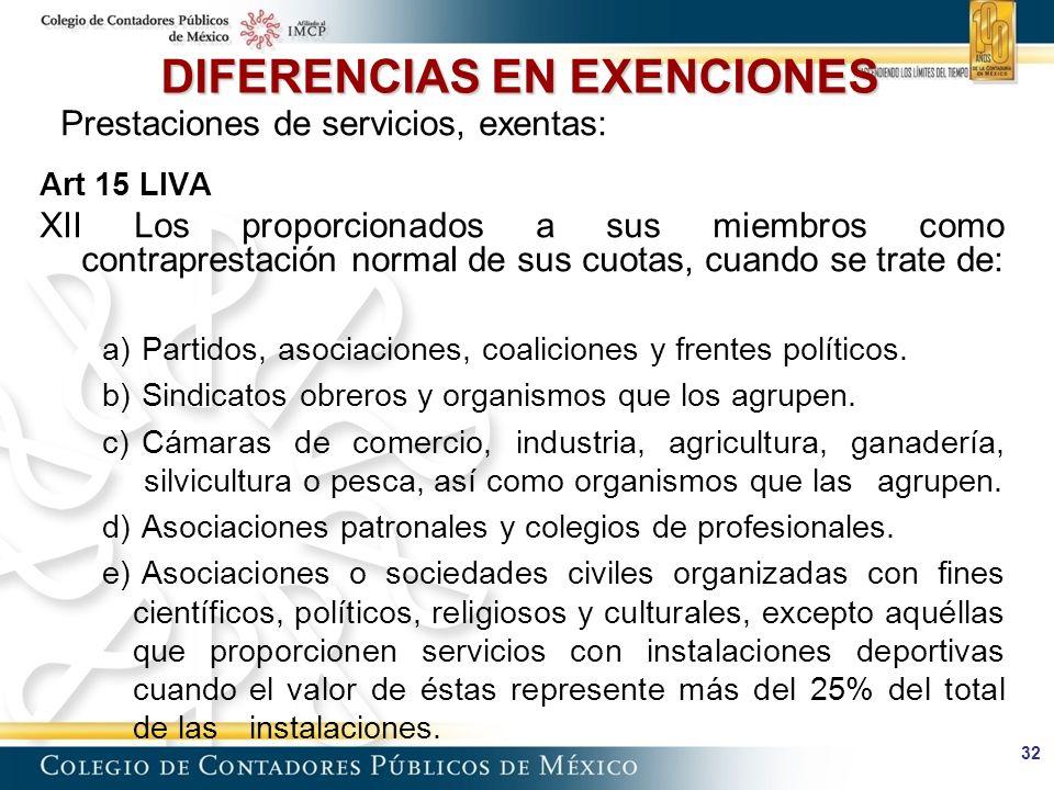 32 DIFERENCIAS EN EXENCIONES Prestaciones de servicios, exentas: Art 15 LIVA XII Los proporcionados a sus miembros como contraprestación normal de sus cuotas, cuando se trate de: a) Partidos, asociaciones, coaliciones y frentes políticos.