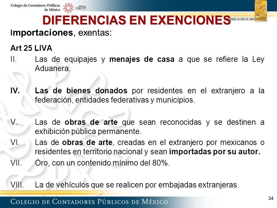 34 DIFERENCIAS EN EXENCIONES I mportaciones, exentas: Art 25 LIVA II.Las de equipajes y menajes de casa a que se refiere la Ley Aduanera.
