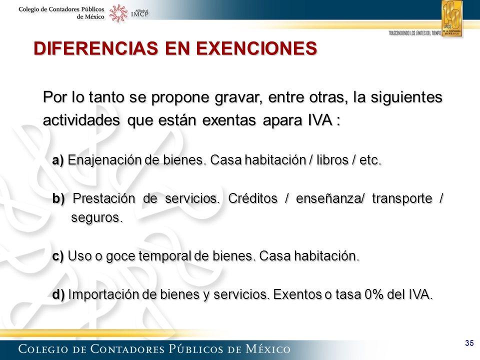 35 DIFERENCIAS EN EXENCIONES Por lo tanto se propone gravar, entre otras, la siguientes actividades que están exentas apara IVA : a) Enajenación de bienes.