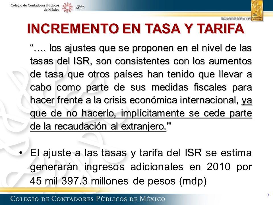 7 …. los ajustes que se proponen en el nivel de las tasas del ISR, son consistentes con los aumentos de tasa que otros países han tenido que llevar a