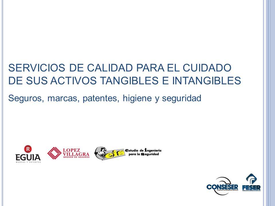 SERVICIOS DE CALIDAD PARA EL CUIDADO DE SUS ACTIVOS TANGIBLES E INTANGIBLES Seguros, marcas, patentes, higiene y seguridad