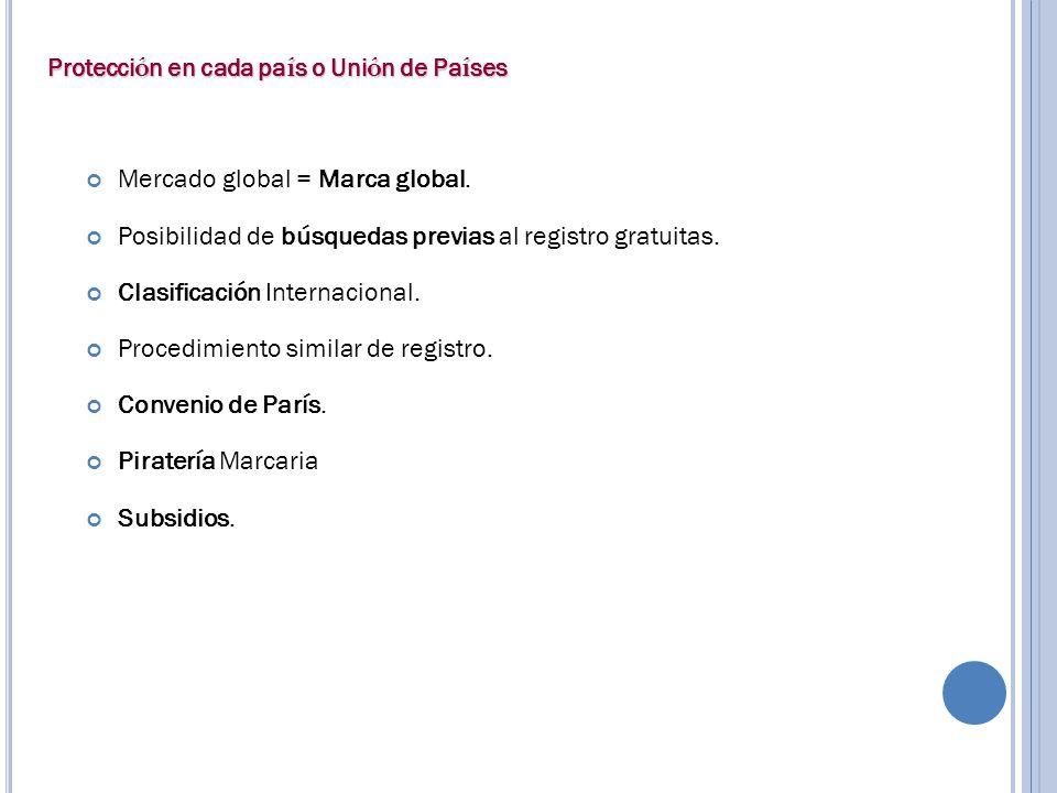 Mercado global = Marca global. Posibilidad de búsquedas previas al registro gratuitas. Clasificación Internacional. Procedimiento similar de registro.