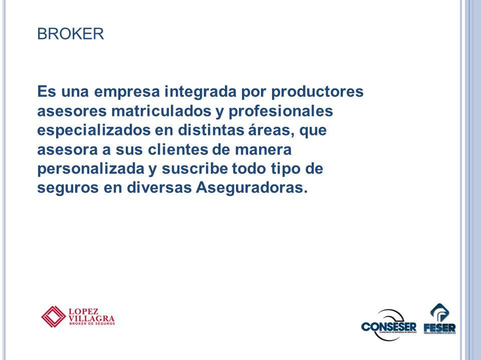 BROKER Es una empresa integrada por productores asesores matriculados y profesionales especializados en distintas áreas, que asesora a sus clientes de