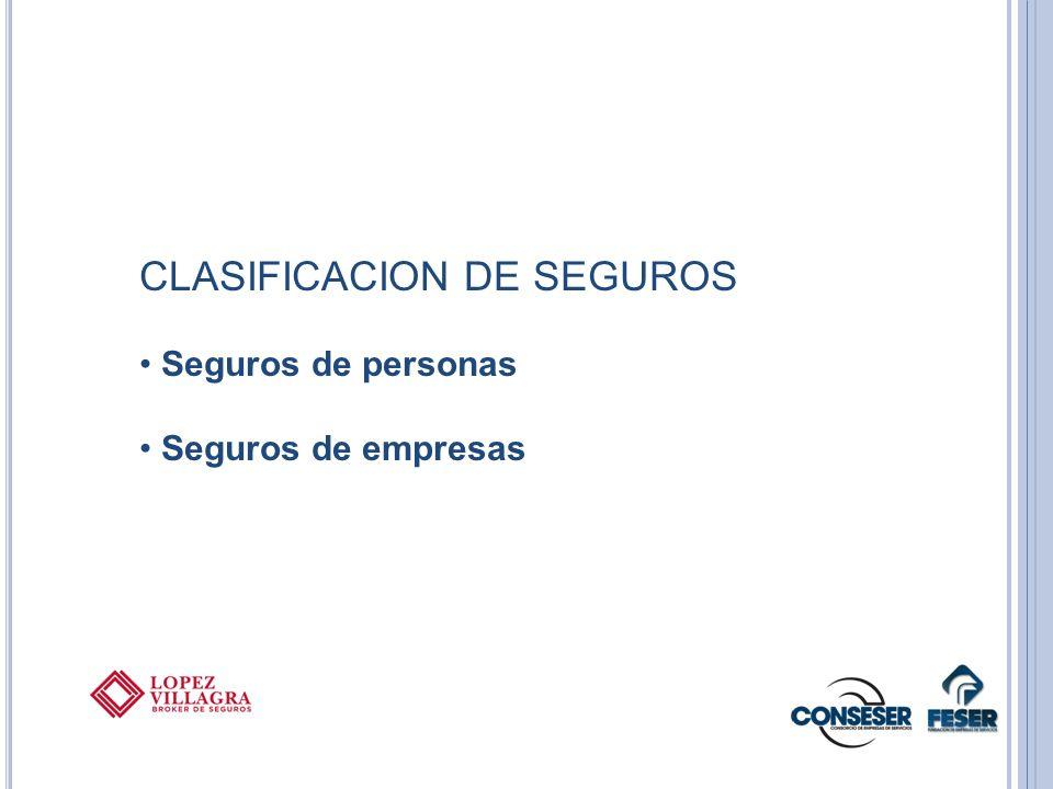 CLASIFICACION DE SEGUROS Seguros de personas Seguros de empresas