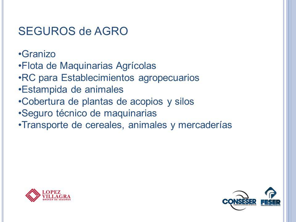 SEGUROS de AGRO Granizo Flota de Maquinarias Agrícolas RC para Establecimientos agropecuarios Estampida de animales Cobertura de plantas de acopios y