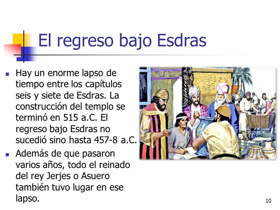 El regreso bajo Esdras Hay un enorme lapso de tiempo entre los capítulos seis y siete de Esdras. La construcción del templo se terminó en 515 a.C. El