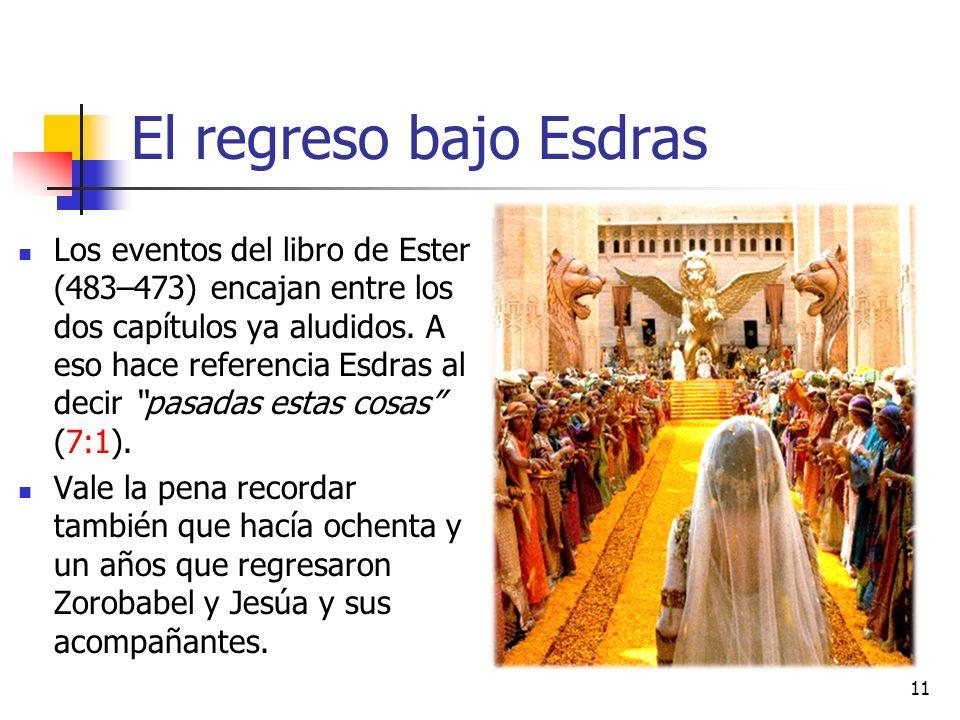 El regreso bajo Esdras Los eventos del libro de Ester (483–473) encajan entre los dos capítulos ya aludidos. A eso hace referencia Esdras al decir pas