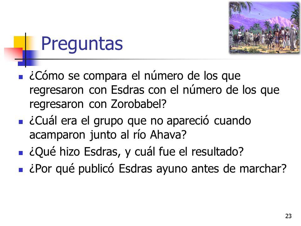 Preguntas ¿Cómo se compara el número de los que regresaron con Esdras con el número de los que regresaron con Zorobabel.