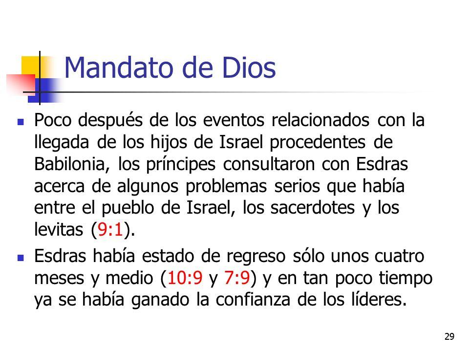 Mandato de Dios Poco después de los eventos relacionados con la llegada de los hijos de Israel procedentes de Babilonia, los príncipes consultaron con Esdras acerca de algunos problemas serios que había entre el pueblo de Israel, los sacerdotes y los levitas (9:1).