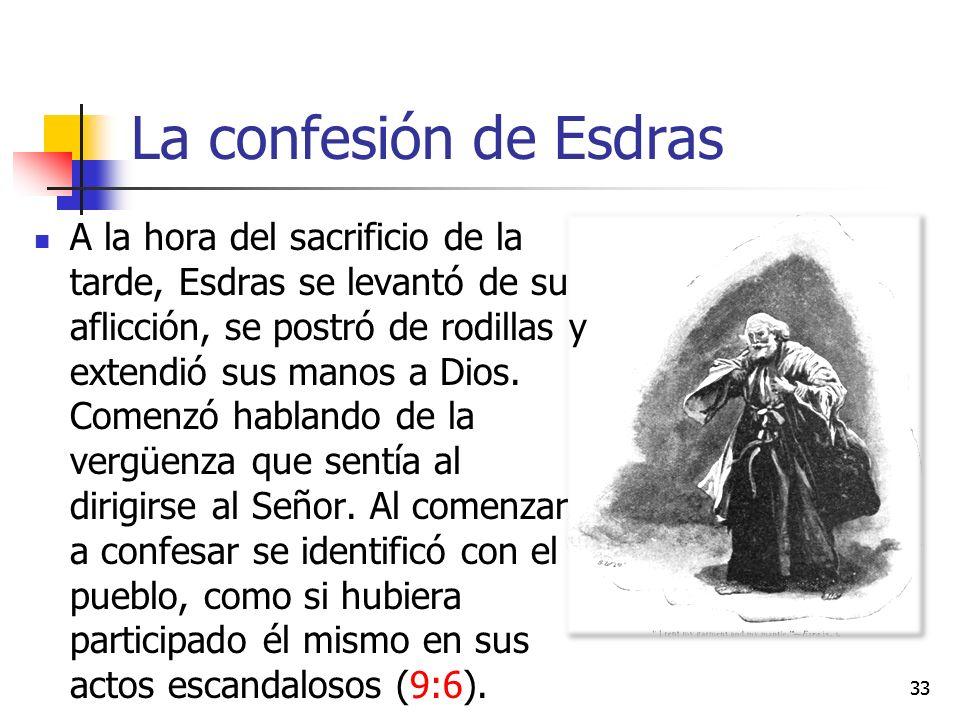 La confesión de Esdras A la hora del sacrificio de la tarde, Esdras se levantó de su aflicción, se postró de rodillas y extendió sus manos a Dios.