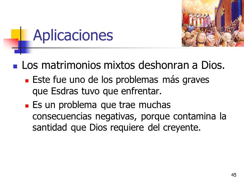 Aplicaciones Los matrimonios mixtos deshonran a Dios.