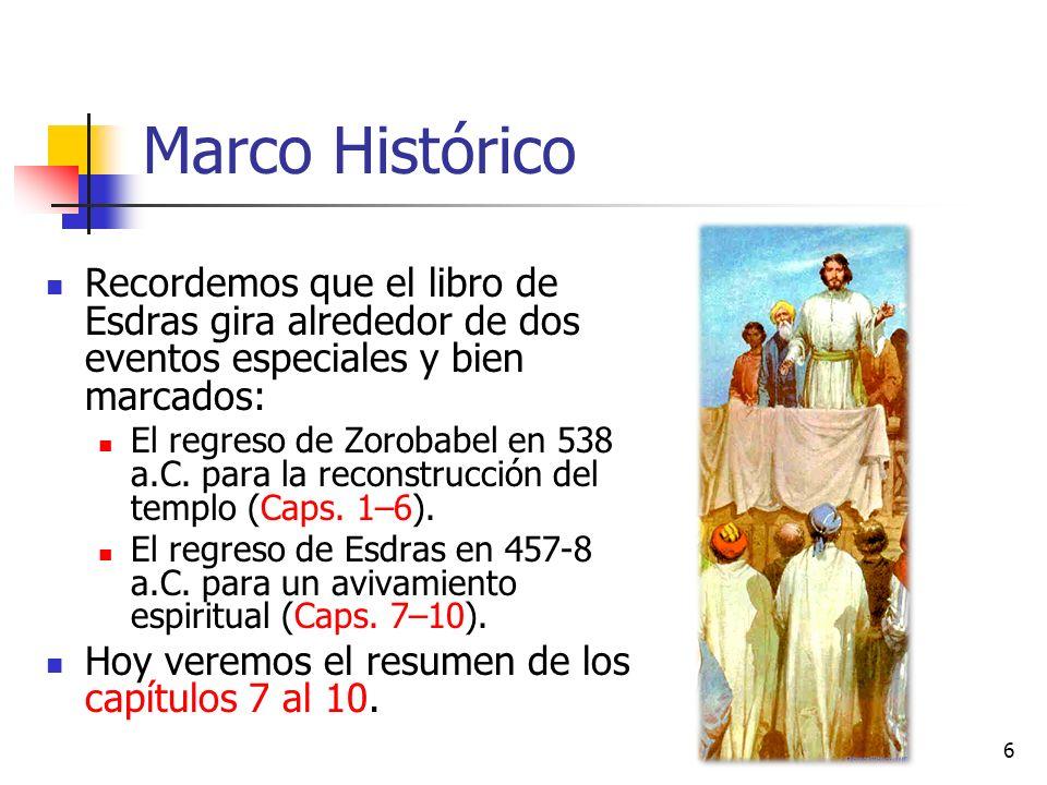 Marco Histórico Recordemos que el libro de Esdras gira alrededor de dos eventos especiales y bien marcados: El regreso de Zorobabel en 538 a.C.