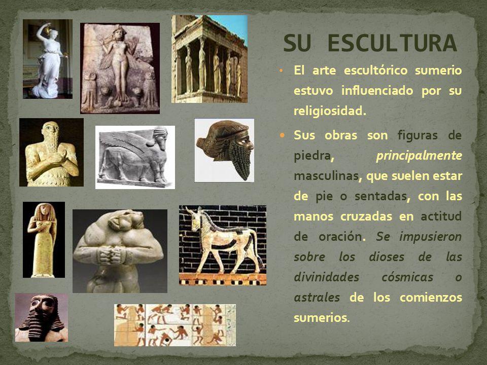 El arte escultórico sumerio estuvo influenciado por su religiosidad. Sus obras son figuras de piedra, principalmente masculinas, que suelen estar de p