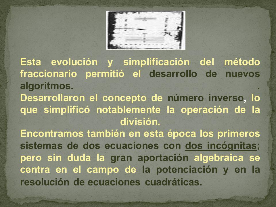 Esta evolución y simplificación del método fraccionario permitió el desarrollo de nuevos algoritmos.. Desarrollaron el concepto de número inverso, lo