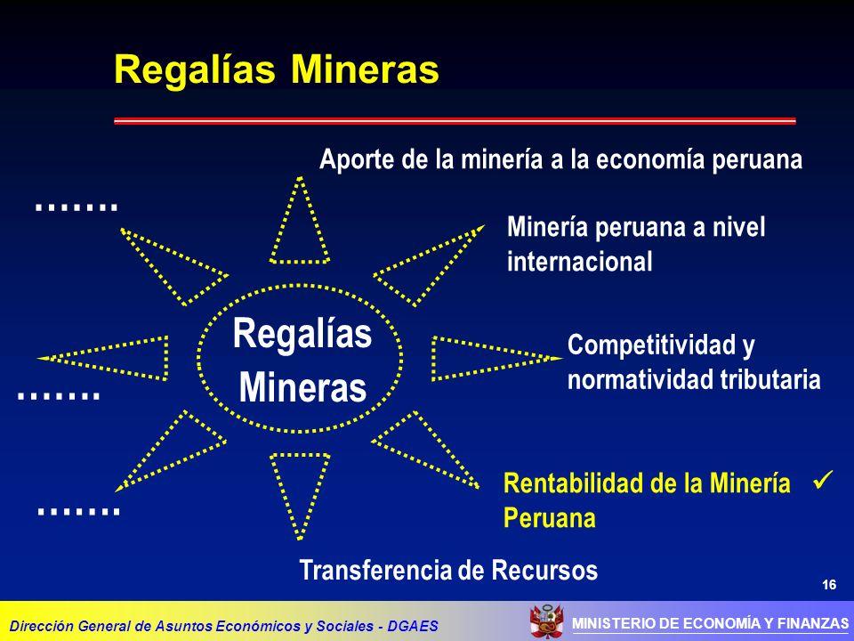 16 MINISTERIO DE ECONOMÍA Y FINANZAS Dirección General de Asuntos Económicos y Sociales - DGAES Regalías Mineras Aporte de la minería a la economía peruana Minería peruana a nivel internacional Competitividad y normatividad tributaria Transferencia de Recursos Rentabilidad de la Minería Peruana Regalías Mineras …….