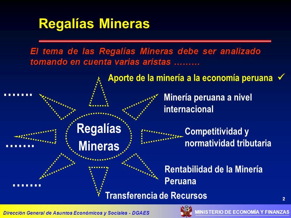 2 MINISTERIO DE ECONOMÍA Y FINANZAS Dirección General de Asuntos Económicos y Sociales - DGAES Regalías Mineras Aporte de la minería a la economía peruana Minería peruana a nivel internacional Competitividad y normatividad tributaria Transferencia de Recursos Rentabilidad de la Minería Peruana Regalías Mineras …….