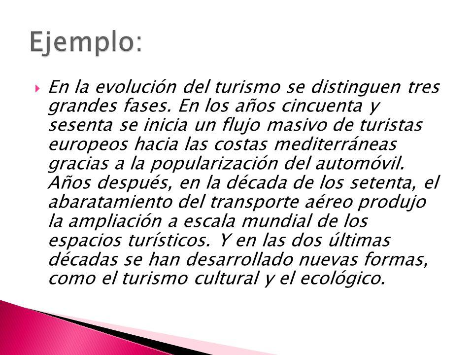 En la evolución del turismo se distinguen tres grandes fases.