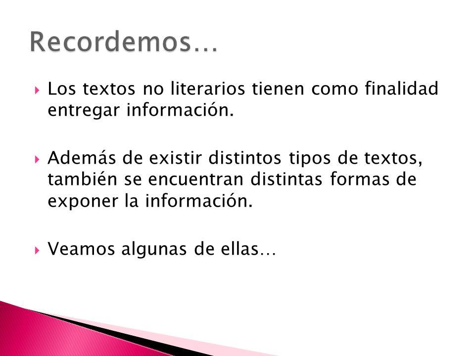 Los textos no literarios tienen como finalidad entregar información.