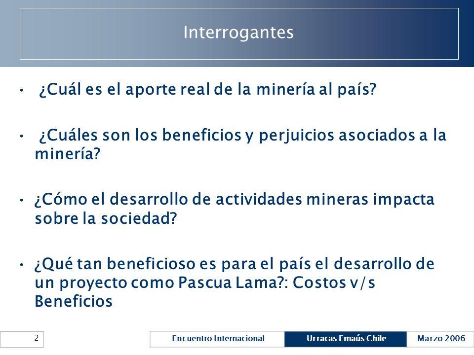 Encuentro InternacionalUrracas Emaús ChileMarzo 2006 2 Interrogantes ¿Cuál es el aporte real de la minería al país? ¿Cuáles son los beneficios y perju