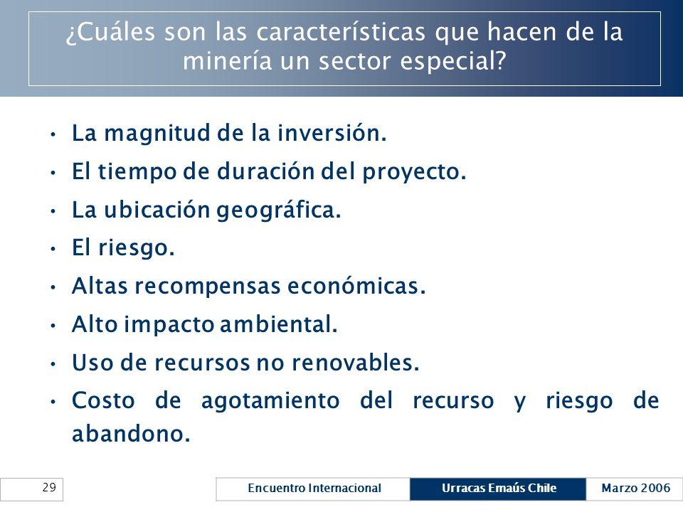 Encuentro InternacionalUrracas Emaús ChileMarzo 2006 29 ¿Cuáles son las características que hacen de la minería un sector especial? La magnitud de la