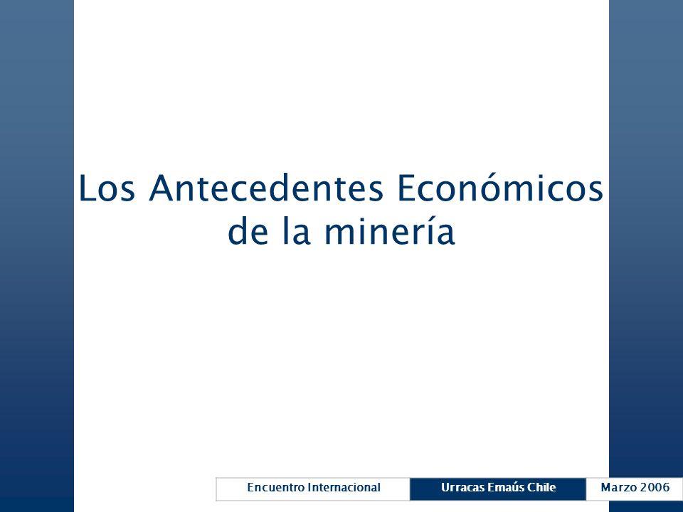 Encuentro InternacionalUrracas Emaús ChileMarzo 2006 Los Antecedentes Económicos de la minería