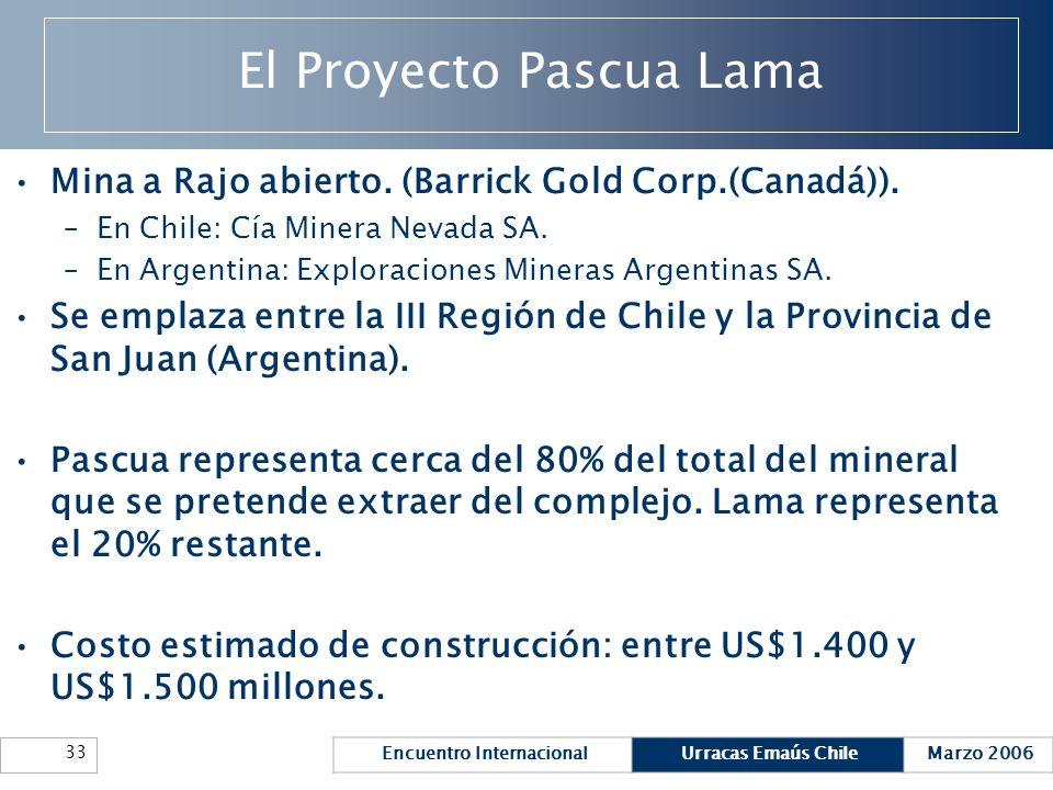 Encuentro InternacionalUrracas Emaús ChileMarzo 2006 33 El Proyecto Pascua Lama Mina a Rajo abierto. (Barrick Gold Corp.(Canadá)). –En Chile: Cía Mine