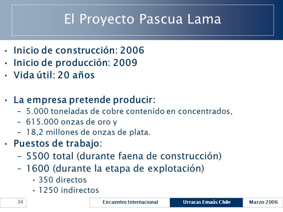 Encuentro InternacionalUrracas Emaús ChileMarzo 2006 34 El Proyecto Pascua Lama Inicio de construcción: 2006 Inicio de producción: 2009 Vida útil: 20