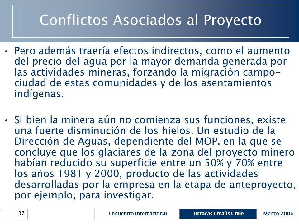 Encuentro InternacionalUrracas Emaús ChileMarzo 2006 37 Conflictos Asociados al Proyecto Pero además traería efectos indirectos, como el aumento del p