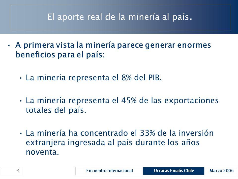 Encuentro InternacionalUrracas Emaús ChileMarzo 2006 4 El aporte real de la minería al país. A primera vista la minería parece generar enormes benefic