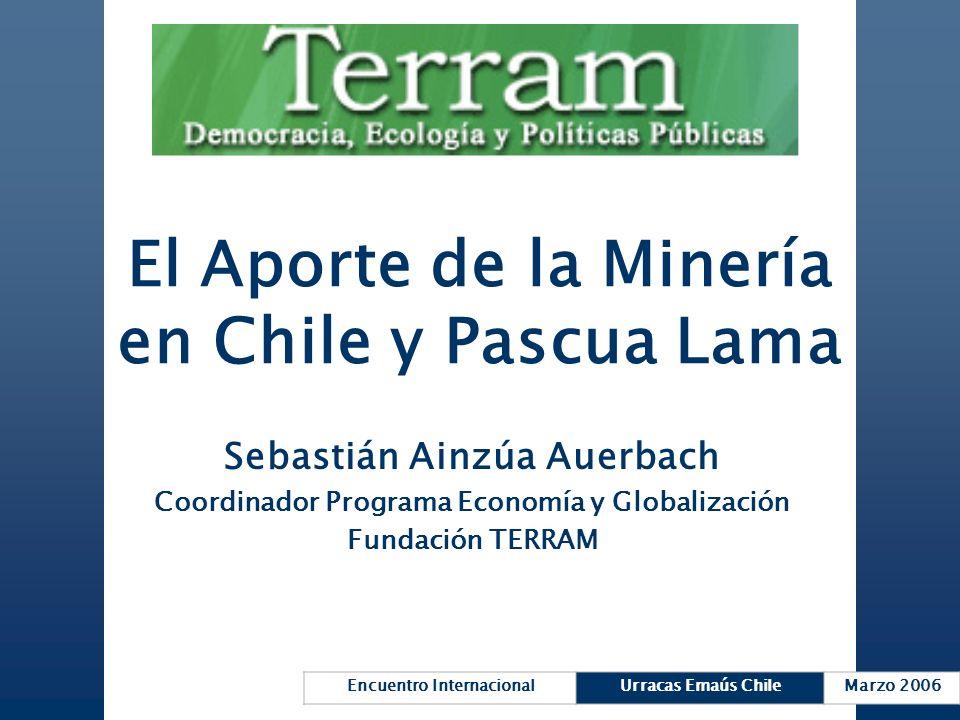 Encuentro InternacionalUrracas Emaús ChileMarzo 2006 El Aporte de la Minería en Chile y Pascua Lama Sebastián Ainzúa Auerbach Coordinador Programa Eco