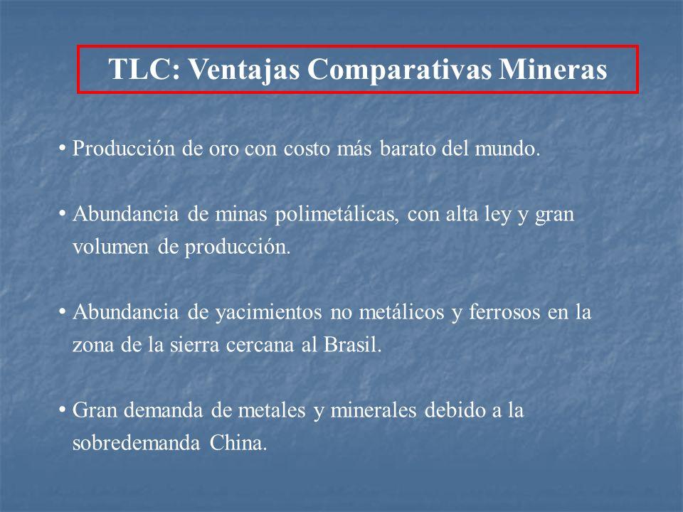 Producción de oro con costo más barato del mundo. Abundancia de minas polimetálicas, con alta ley y gran volumen de producción. Abundancia de yacimien