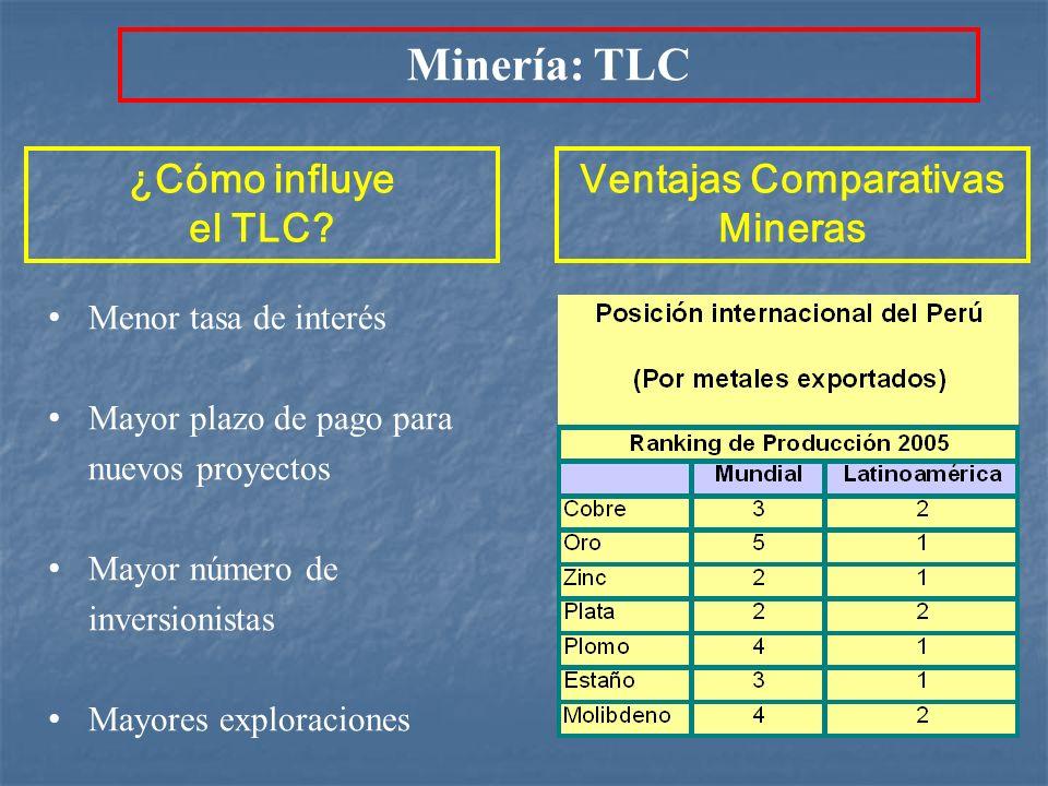 ¿Cómo influye el TLC? Menor tasa de interés Mayor plazo de pago para nuevos proyectos Mayor número de inversionistas Mayores exploraciones Ventajas Co