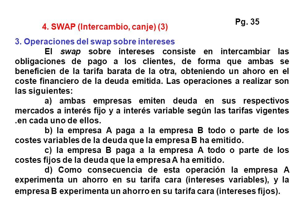 4. SWAP (Intercambio, canje) (3) 3. Operaciones del swap sobre intereses El swap sobre intereses consiste en intercambiar las obligaciones de pago a l