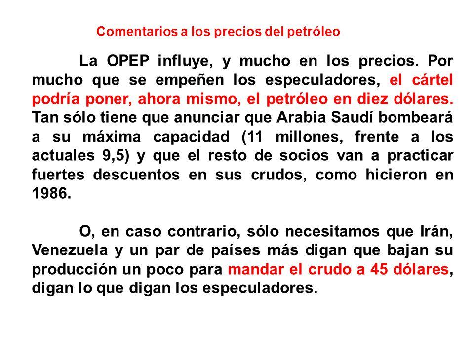 La OPEP influye, y mucho en los precios. Por mucho que se empeñen los especuladores, el cártel podría poner, ahora mismo, el petróleo en diez dólares.