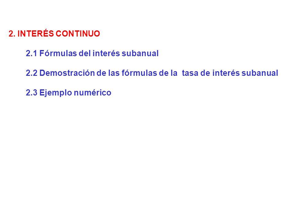 2. INTERÉS CONTINUO 2.1 Fórmulas del interés subanual 2.2 Demostración de las fórmulas de la tasa de interés subanual 2.3 Ejemplo numérico