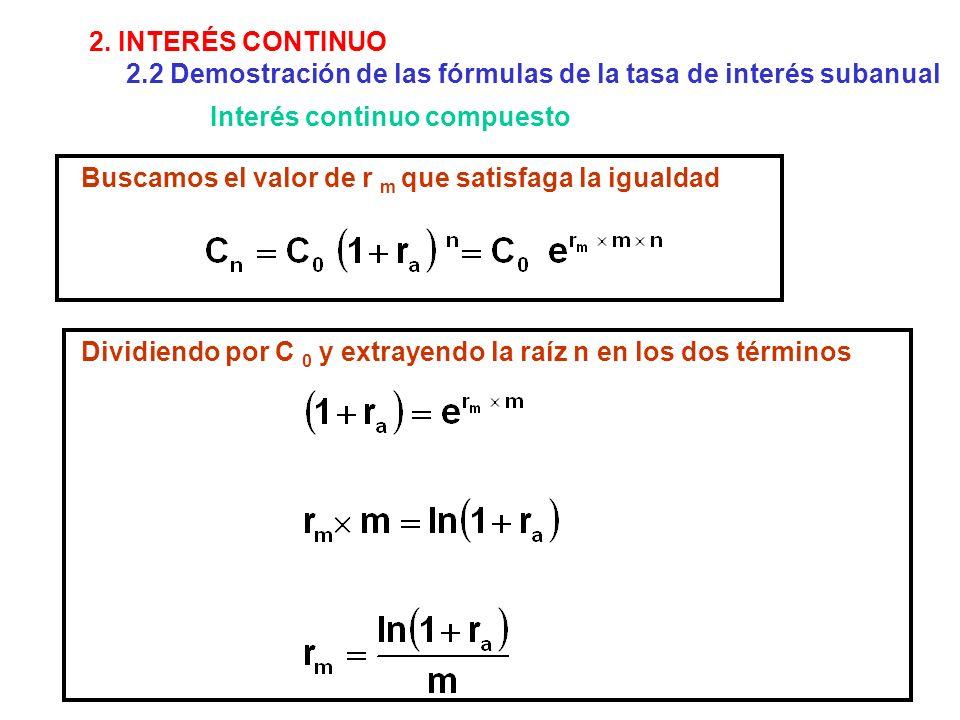 Buscamos el valor de r m que satisfaga la igualdad Dividiendo por C 0 y extrayendo la raíz n en los dos términos 2. INTERÉS CONTINUO 2.2 Demostración