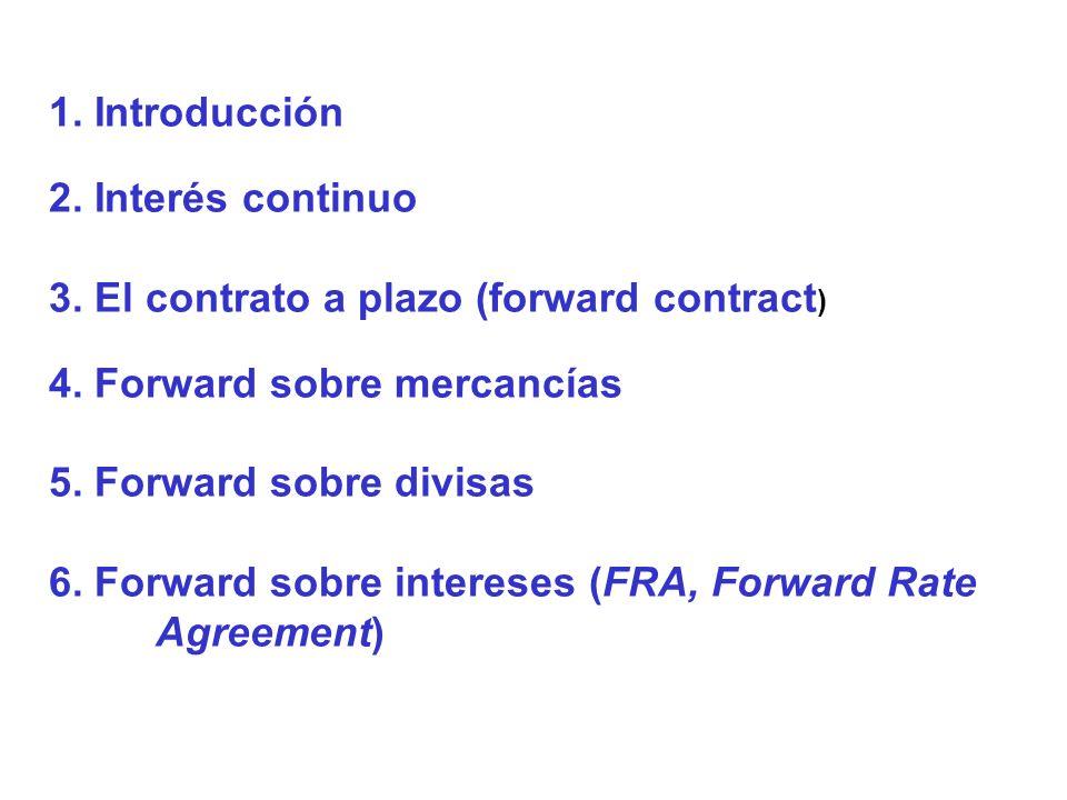 1. Introducción 2. Interés continuo 3. El contrato a plazo (forward contract ) 4. Forward sobre mercancías 5. Forward sobre divisas 6. Forward sobre i