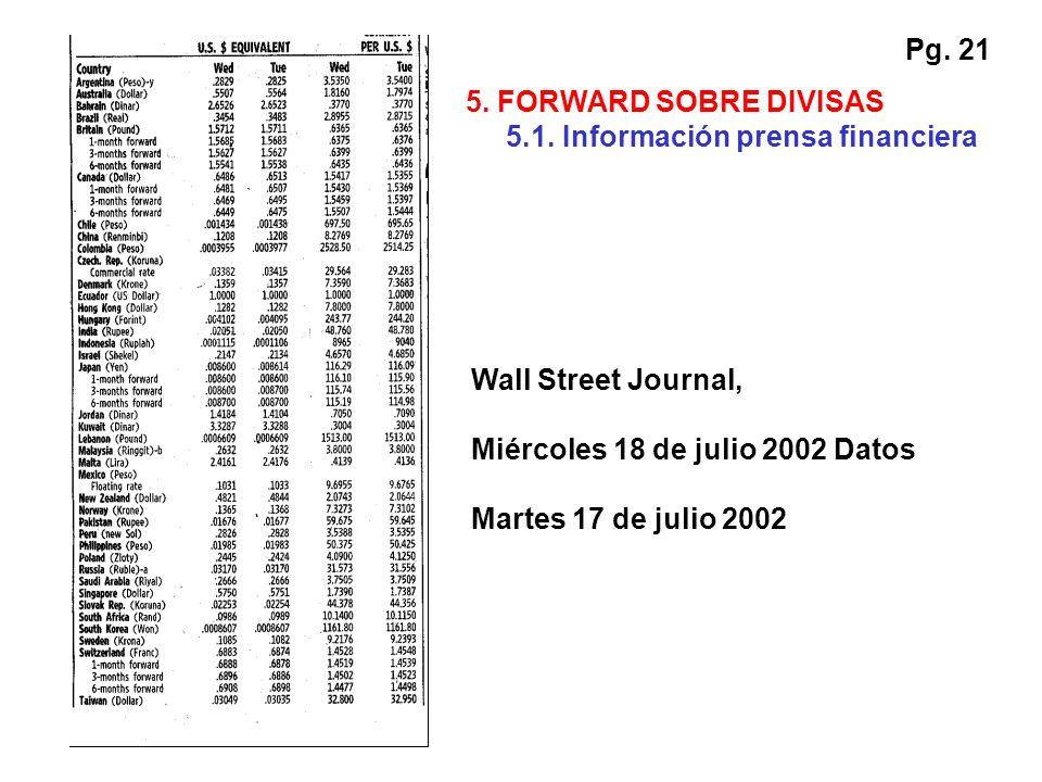 Pg. 21 Wall Street Journal, Miércoles 18 de julio 2002 Datos Martes 17 de julio 2002 5. FORWARD SOBRE DIVISAS 5.1. Información prensa financiera