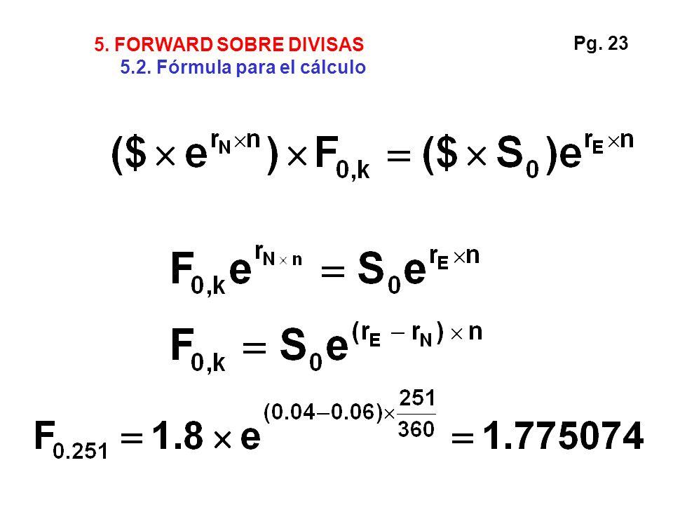 Pg. 23 5. FORWARD SOBRE DIVISAS 5.2. Fórmula para el cálculo