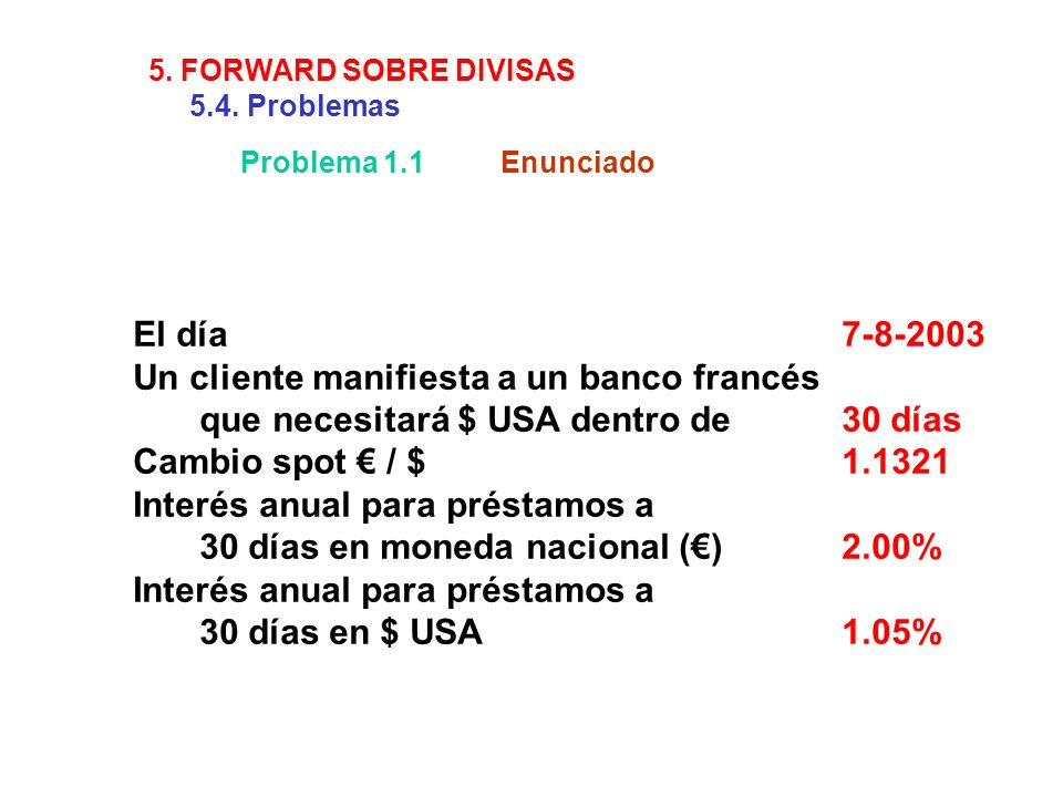 Problema 1.1Enunciado El día7-8-2003 Un cliente manifiesta a un banco francés que necesitará $ USA dentro de 30 días Cambio spot / $1.1321 Interés anu