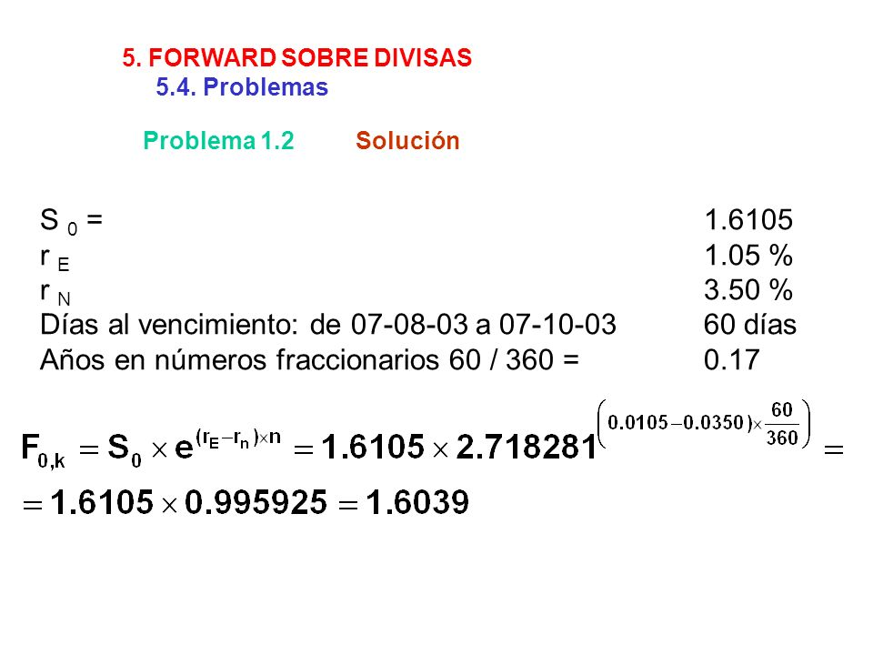 Problema 1.2Solución S 0 =1.6105 r E 1.05 % r N 3.50 % Días al vencimiento: de 07-08-03 a 07-10-0360 días Años en números fraccionarios 60 / 360 =0.17