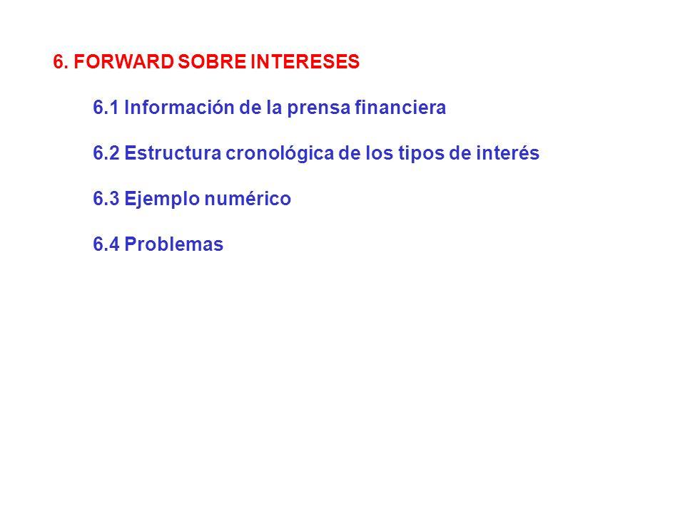 6. FORWARD SOBRE INTERESES 6.1 Información de la prensa financiera 6.2 Estructura cronológica de los tipos de interés 6.3 Ejemplo numérico 6.4 Problem