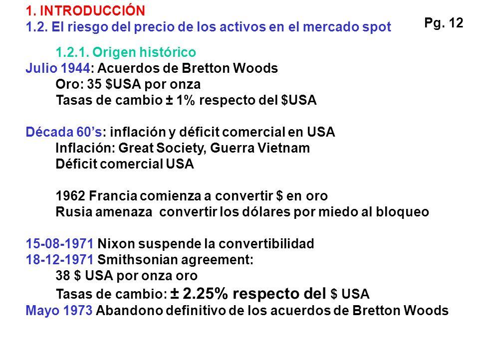1.2.1. Origen histórico Julio 1944: Acuerdos de Bretton Woods Oro: 35 $USA por onza Tasas de cambio ± 1% respecto del $USA Década 60s: inflación y déf